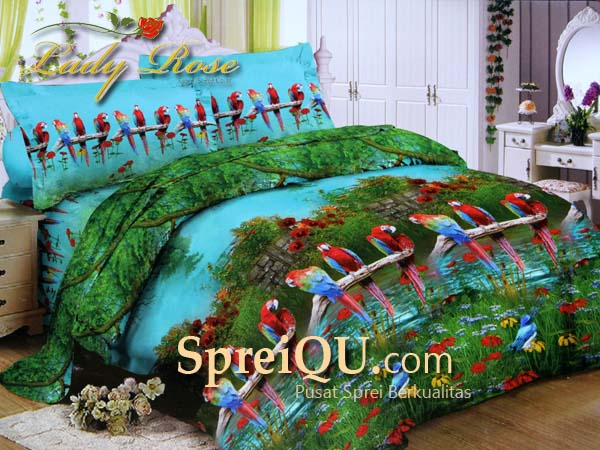 Sprei Lady Rose 3D Parrots