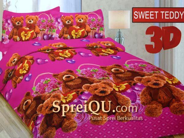 Cari Harga Bonita Motif Rose Teddy Set Sprei King Merah HargaBagus ID Source · Sprei Bonita Sweet Teddy 3D King 180x200